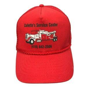 COLLETTE'S Service Center Trucker Hat Vintage Red